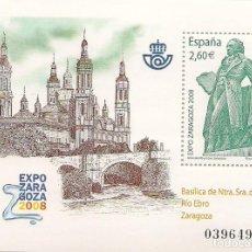 Sellos: ESPAÑA - 2008 - EXPO ZARAGOSA - BASÍLICA DE NTRA. SRA. DEL PILAR, RIO EBRO - BLOQUE NUEVO. Lote 244615665