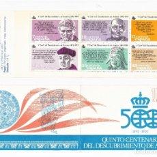 Sellos: ESPAÑA 1986 CARNÉ V CENTENARIO DEL DESCUBRIMIENTO DE AMÉRICA. Lote 244636080