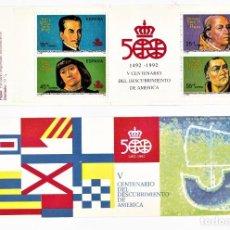 Sellos: ESPAÑA 1991 CARNÉ V CENTENARIO DEL DESCUBRIMIENTO DE AMERICA. SERIE COMPLETA. Lote 244636465