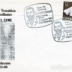 Sellos: ESPAÑA.- SOBRE ILUSTRADO CON MATASELLOS EXPOSICION FILATELIA TEMATICA DE PERIODISMO PONTEVEDRA. Lote 244712035