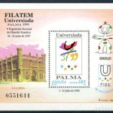 Sellos: FILATEM UNIVERSIADA PALMA 1999 - HOJITA BLOQUE EDIFIL 3648. Lote 244716730