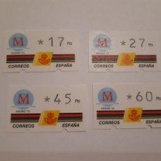 Sellos: 1992 ETIQUETAS ATM KLUSSENDORF CAPITAL EUROPEA DE LA CULTURA MADRID´92 4 VALORES. Lote 244771395