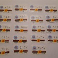 Sellos: 1992 ETIQUETAS ATM KLUSSENDORF CAPITAL EUROPEA DE LA CULTURA MADRID´92 19 VALORES. Lote 244773750