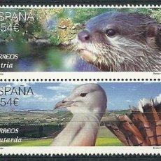 Sellos: ESPAÑA - 2014 - FAUNA PROTEGIDA - BÚHO REAL - NUTRIA - ÁGUILA IMPERIAL - AVUTARDA - EDIFIL 4915-18. Lote 244831935