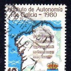 Sellos: RRC EDIFIL 2611 ESPAÑA 1981 PROMULGACIÓN ESTATUTO AUTONOMÍA GALICIA. USADO. Lote 245740210