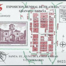 Sellos: 1991. ESPAÑA. EDIFIL 3109**MNH. HOJITA. EXP. MUNDIAL DE FILATELIA. GRANADA. SANTA FE. V CENTENARIO.. Lote 245957075