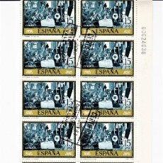 Sellos: ESPAÑA 1978 SERIE PABLO RUIZ PICASSO. LOTE DE 20 SELLOS MATASELLADOS ENLAZADOS.. Lote 245960425