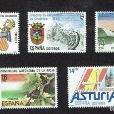 Sellos: ESTATUTOS DE AUTONOMÍA. 1983. EDIFIL 2686-91 (INCOMPLETA). Lote 246219040