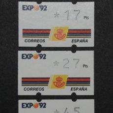 Sellos: ATM - NUEVO - ESPAÑA 1992 - SERIE 3 VALORES - EXPO 92. Lote 246349345