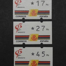 Sellos: ATM - NUEVO - ESPAÑA 1992 - SERIE 3 VALORES - GRANADA 92. Lote 246349500