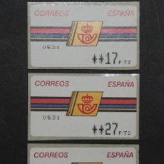 Sellos: ATM - NUEVO - ESPAÑA 1992 - SERIE 3 VALORES - LOGO CORREOS. Lote 246349595