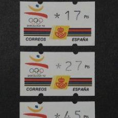 Sellos: ATM - NUEVO - ESPAÑA 1992 - SERIE 3 VALORES - BARCELONA 92. Lote 246349645