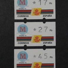 Sellos: ATM - NUEVO - ESPAÑA 1992 - SERIE 3 VALORES - MADRID 92. Lote 246349690
