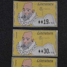 Sellos: ATM - NUEVO - ESPAÑA 1996 - SERIE 3 VALORES - LITERATURA CERVANTES. Lote 246351120
