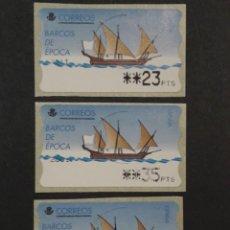 Sellos: ATM - NUEVO - ESPAÑA 1998 - SERIE 3 VALORES - JABEQUE TAJO (BARCOS DE EPOCA). Lote 246351365