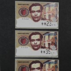Sellos: ATM - NUEVO - ESPAÑA 1998 - SERIE 3 VALORES - FEDERICO GARCIA LORCA. Lote 246351475