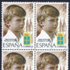 Sellos: EDIFIL 2449 FELIPE DE BORBÓN. PRÍNCIPE DE ASTURIAS 1977 (BLOQUE DE 4). MNH **. Lote 246663070