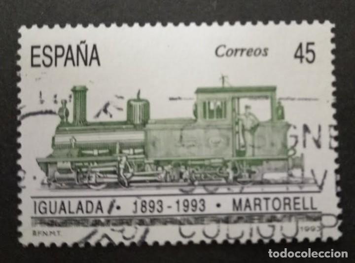 ESPAÑA 3265 - AÑO 1993 - TRENES - CENTENARIO DEL FERROCARRIL IGUALADA - MARTORELL (Sellos - España - Juan Carlos I - Desde 1.986 a 1.999 - Usados)