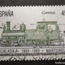 Sellos: ESPAÑA 3265 - AÑO 1993 - TRENES - CENTENARIO DEL FERROCARRIL IGUALADA - MARTORELL. Lote 248306805
