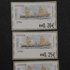 Selos: ATM - NUEVO - ESPAÑA 2002 - SERIE 3 VALORES - VAPOR MIXTO M.M. PINILLOS. Lote 251261795