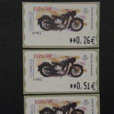 Selos: ATM - NUEVO - ESPAÑA 2003 - SERIE 3 VALORES - MOTO SANGLAS. Lote 251263260