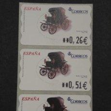 Selos: ATM - NUEVO - ESPAÑA 2003 - SERIE 3 VALORES - SPIDER CON CAPOTA. Lote 251263935
