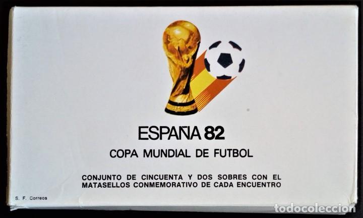 52 SOBRES MATASELLOS CONMEMORATIVOS DIFERENTES ESPAÑA 82 DEPORTE FUTBOL MUNDIAL 1982 (Sellos - España - Juan Carlos I - Desde 1.975 a 1.985 - Cartas)