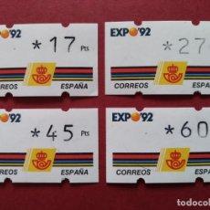 Sellos: LOTE 4 ETIQUETAS ATM - CORREOS, KLUSSENDORF - EXPO SEVILLA 92 - 4 VALORES 3* DIGITOS...L3772. Lote 253449830