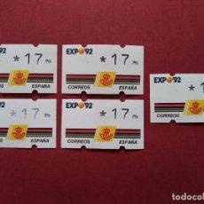 Sellos: LOTE 5 ETIQUETAS ATM - CORREOS, KLUSSENDORF - EXPO SEVILLA 92 - 1 VALOR 3* DIGITOS...L3773. Lote 253450120