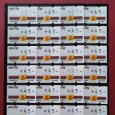 Sellos: LOTE 28 ETIQUETAS ATM - CORREOS, KLUSSENDORF - EXPO GRANADA 92 - 1 VALOR NUMERADO - 45 PTAS...L3775. Lote 253451765