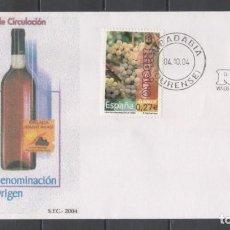 Sellos: FDC, SOBRE DE PRIMER DÍA DE EMISIÓN DE ESPAÑA -VINOS CON DENOMINACIÓN, RIBEIRO-, AÑO 2004. Lote 253523780