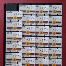 Sellos: LOTE 27 ETIQUETAS ATM - CORREOS, KLUSSENDORF - EXPO SEVILLA 92 - 1 VALOR - 27 PTAS...L3776. Lote 253626040