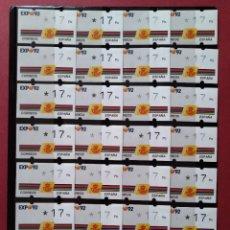 Sellos: LOTE 28 ETIQUETAS ATM - CORREOS, KLUSSENDORF - EXPO SEVILLA 92 - 1 VALOR - 17 PTAS...L3778. Lote 253626600
