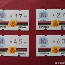 Sellos: LOTE 4 ETIQUETAS ATM - CORREOS, KLUSSENDORF - MADRID 92 - VARIOS VALORES - VER DESCRIPCION...L3780. Lote 253627910