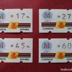Sellos: LOTE 4 ETIQUETAS ATM - CORREOS, KLUSSENDORF - MADRID 92 - VARIOS VALORES - VER DESCRIPCION...L3781. Lote 253627990
