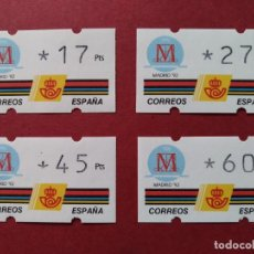 Sellos: LOTE 4 ETIQUETAS ATM - CORREOS, KLUSSENDORF - MADRID 92 - VARIOS VALORES - VER DESCRIPCION...L3782. Lote 253628075
