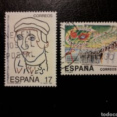 Sellos: ESPAÑA EDIFIL 3224/5 SERIE COMPLETA USADA 1992 JUAN LUIS VIVES. ORFEÓN PAMPLONÉS. PEDIDO MÍNIMO 3€. Lote 253943275
