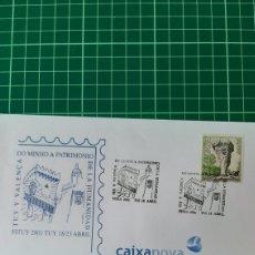 Sellos: TUY PONTEVEDRA GALICIA VALENCA MINHO PORTUGAL MATASELLO 2091 PATRIMONIO HUMANIDAD. Lote 254123685