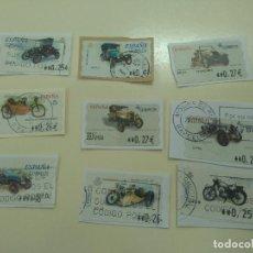Sellos: LOTE DE 9 SELLOS USADOS ADHESIVOS, COCHES Y MOTOS ANTIGUOS O CLÁSICOS STAMPS. Lote 254302435