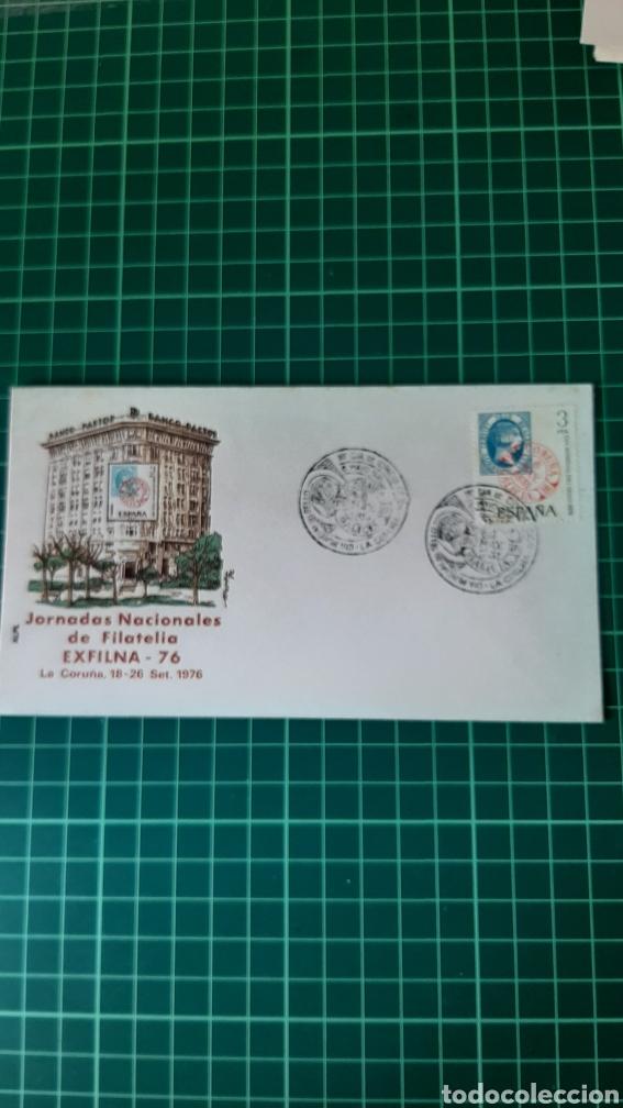 ALFIL LA CORUÑA GALICIA MATASELLO EXPOSICIÓN FILATÉLICA EXFILMA SALAMANCA 1976 DIA SELLO (Sellos - España - Juan Carlos I - Desde 1.975 a 1.985 - Cartas)