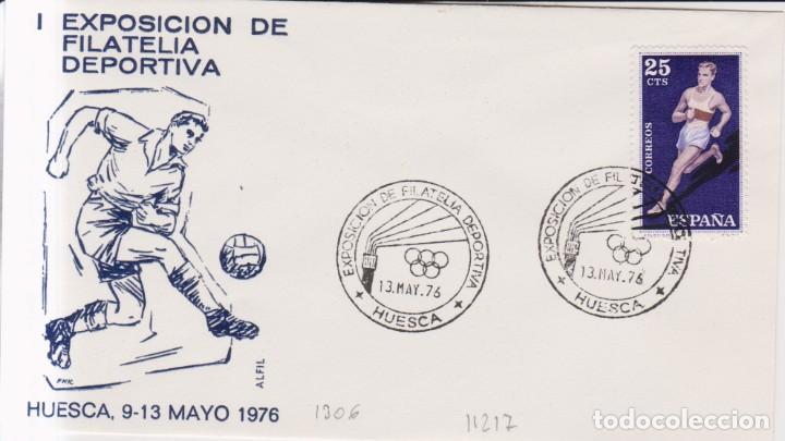 AÑO 1976 EDIFIL 1306 SPD FDC I EXPO FILATELICA DEPORTIVA HUESCA (Sellos - España - Juan Carlos I - Desde 1.975 a 1.985 - Cartas)