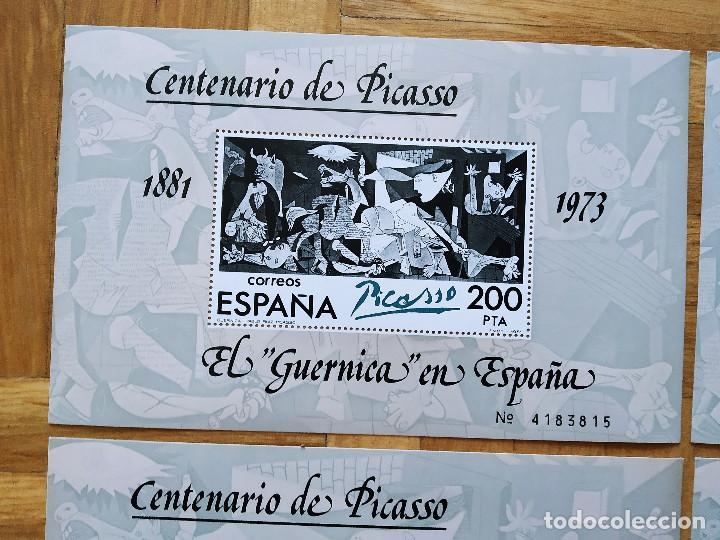 Sellos: 4 HOJAS BLOQUE 1981. EL GUERNICA EN ESPAÑA. PICASSO. CENTENARIO DE PICASSO. NUEVAS Y CORRELATIVAS - Foto 2 - 255952650