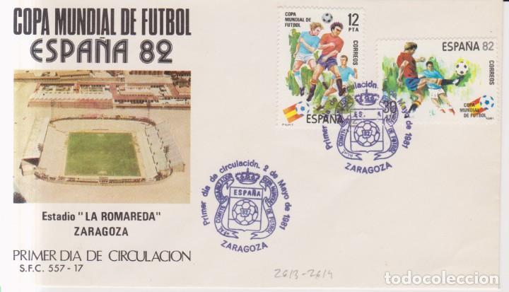 AÑO 1981 EDIFIL 2613-2614 SPD FDC COPA MUNDIAL DE FURBOL 82 ESTADIO LA ROMAREDA ZARAGOZA (Sellos - España - Juan Carlos I - Desde 1.975 a 1.985 - Cartas)