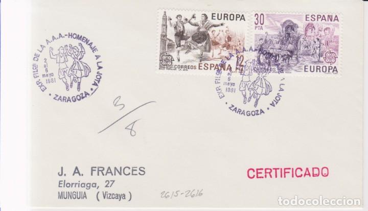 AÑO 1981 EDIFIL 2615-2616 SPD FDC HOMENAJE A LA JOTA EXPO FILATELICA ZARAGOZA (Sellos - España - Juan Carlos I - Desde 1.975 a 1.985 - Cartas)