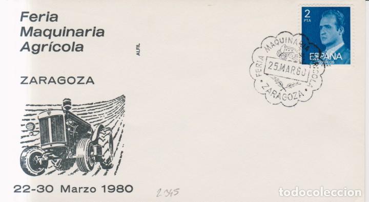 AÑO 1980 EDIFIL 2345 SPD FDC FERIA MAQUINARIA AGRICOLA ZARAGOZA (Sellos - España - Juan Carlos I - Desde 1.975 a 1.985 - Cartas)