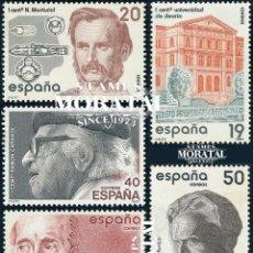 Sellos: 1987 ESPAÑA ED 2880/2884 CENTENARIOS PERSONAJES **MNH PERFECTO ESTADO, NUEVO SIN CHARNELA (EDIFIL). Lote 257365695