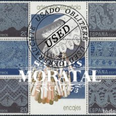 Selos: 1989 ESPAÑA ED 3016/3021 BLOQUE ENCAJES ARTESANIA (O) USADO, BUEN ESTADO (EDIFIL). Lote 257365765