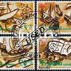 Selos: 1990 ESPAÑA ED 3079/3082 DESCUBRIMIENTO AMERICA V AMERICA (O) USADO, BUEN ESTADO (EDIFIL). Lote 257365800