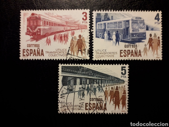 ESPAÑA EDIFIL 2560/2 SERIE COMPLETA USADA 1980 TRANSPORTES TRENES AUTOBÚS METRO PEDIDO MÍNIMO 3€ (Sellos - España - Juan Carlos I - Desde 1.975 a 1.985 - Usados)