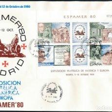 Francobolli: 1980 ESPAÑA ED 2583 HB ESPAMER'80 EXPOSICIÓN SPD BUEN ESTADO (FDC) (EDIFIL). Lote 258271385